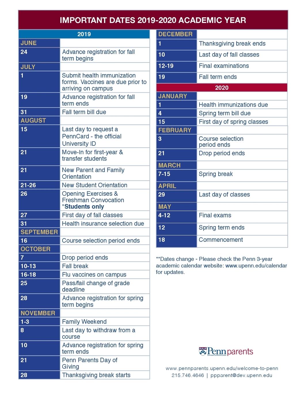 Academic Calendar Upenn.Important Dates 2019 2020 Final