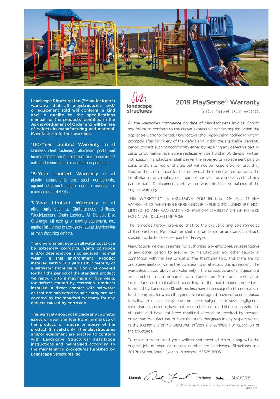 2019 PlaySense® Warranty - Landscape Structures