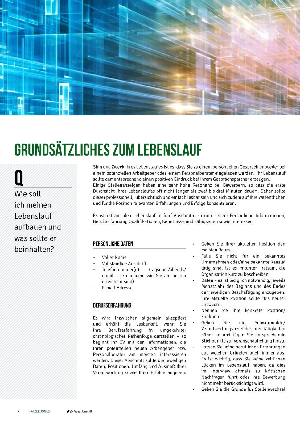 Frazer Jones CV & Interview Leitfaden