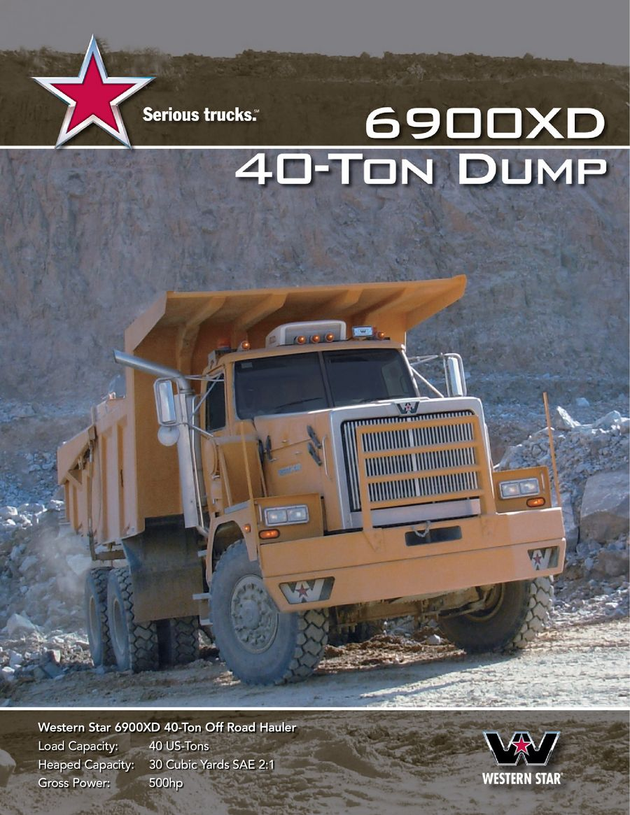 40 Ton Dump Brochure Western Star Truck Wiring Diagram Page 1