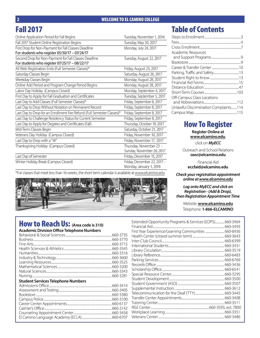 el camino college fall 2017 class schedule