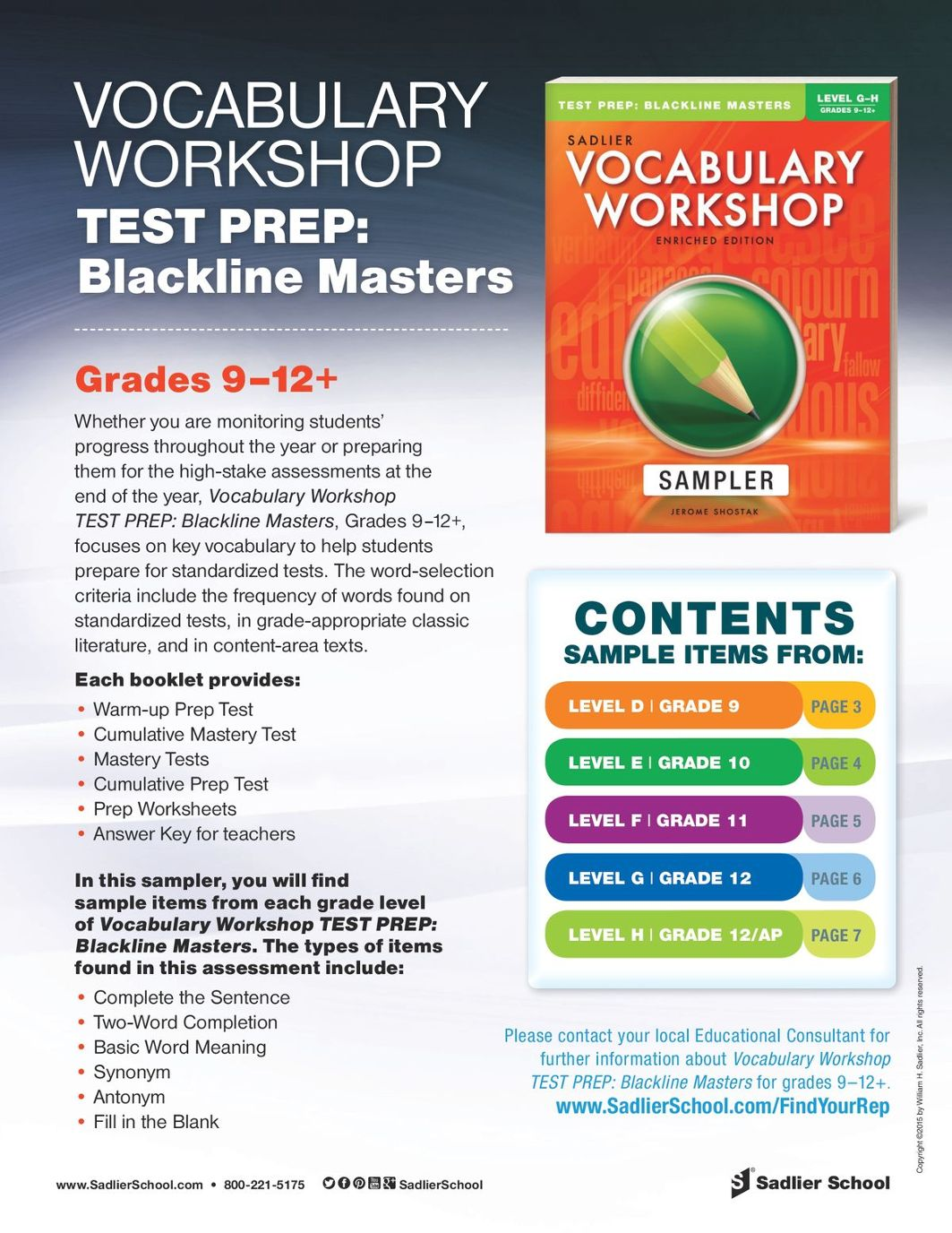Vocabulary Workshop Test Prep Blackline Masters, Levels D–H (Grades