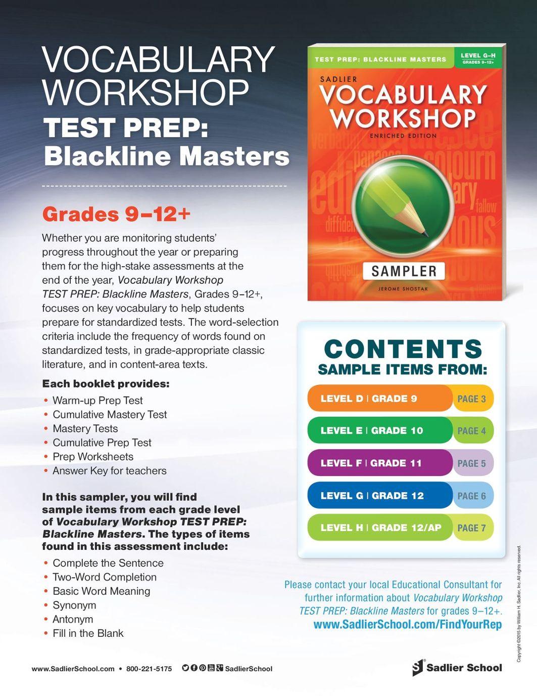 Vocabulary Workshop Test Prep Blackline Masters, Levels D–H (Grades