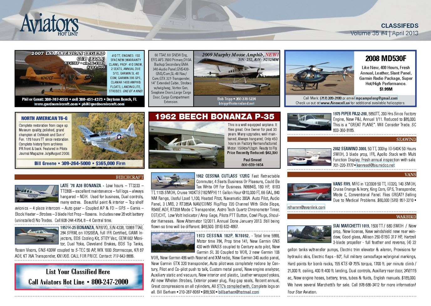 Aviators Hot Line Classifieds - April 2013