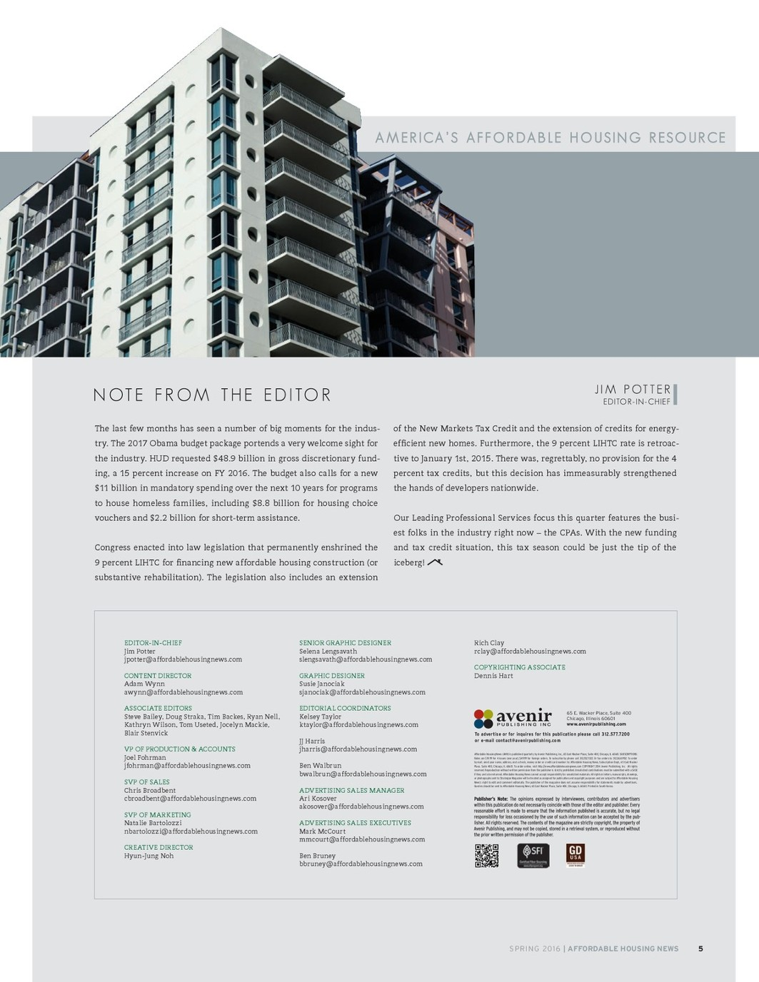 Affordable Housing News, Spring 2016 Issue