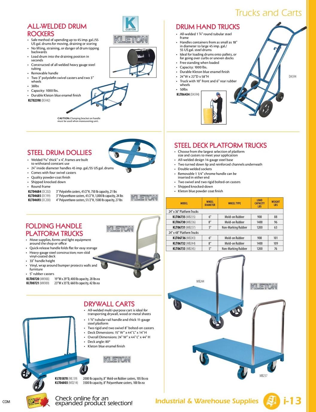 Platform Truck w//Steel Deck 5 Polyurethane Casters 1000 Lb Capacity 48 x 24
