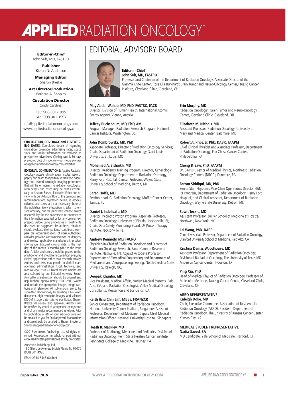September 2018 Applied Radiation Oncology