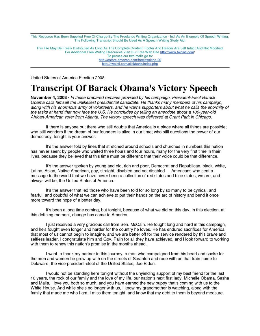 Barack Obama Victory Speech doc