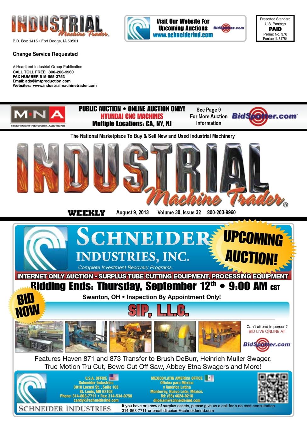 Industrial Machine Trader® August 9, 2013