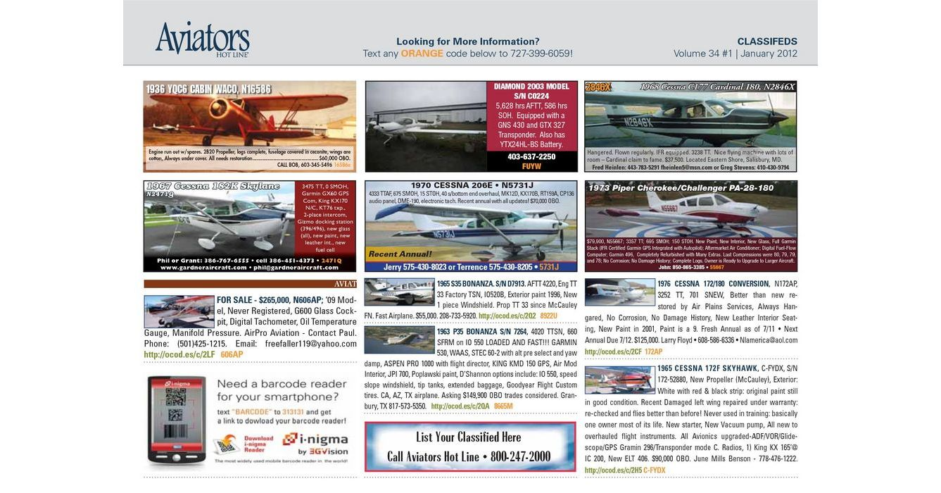 Aviators Hot Line Classifieds - January 2012