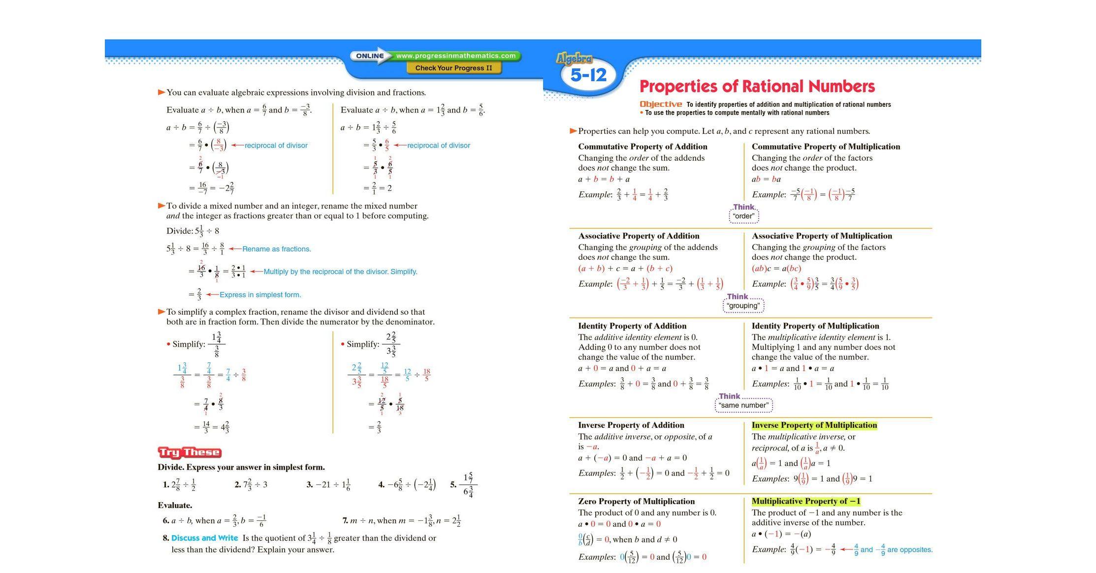 Progress in Mathematics, Fundamentals of Algebra, Student Edition