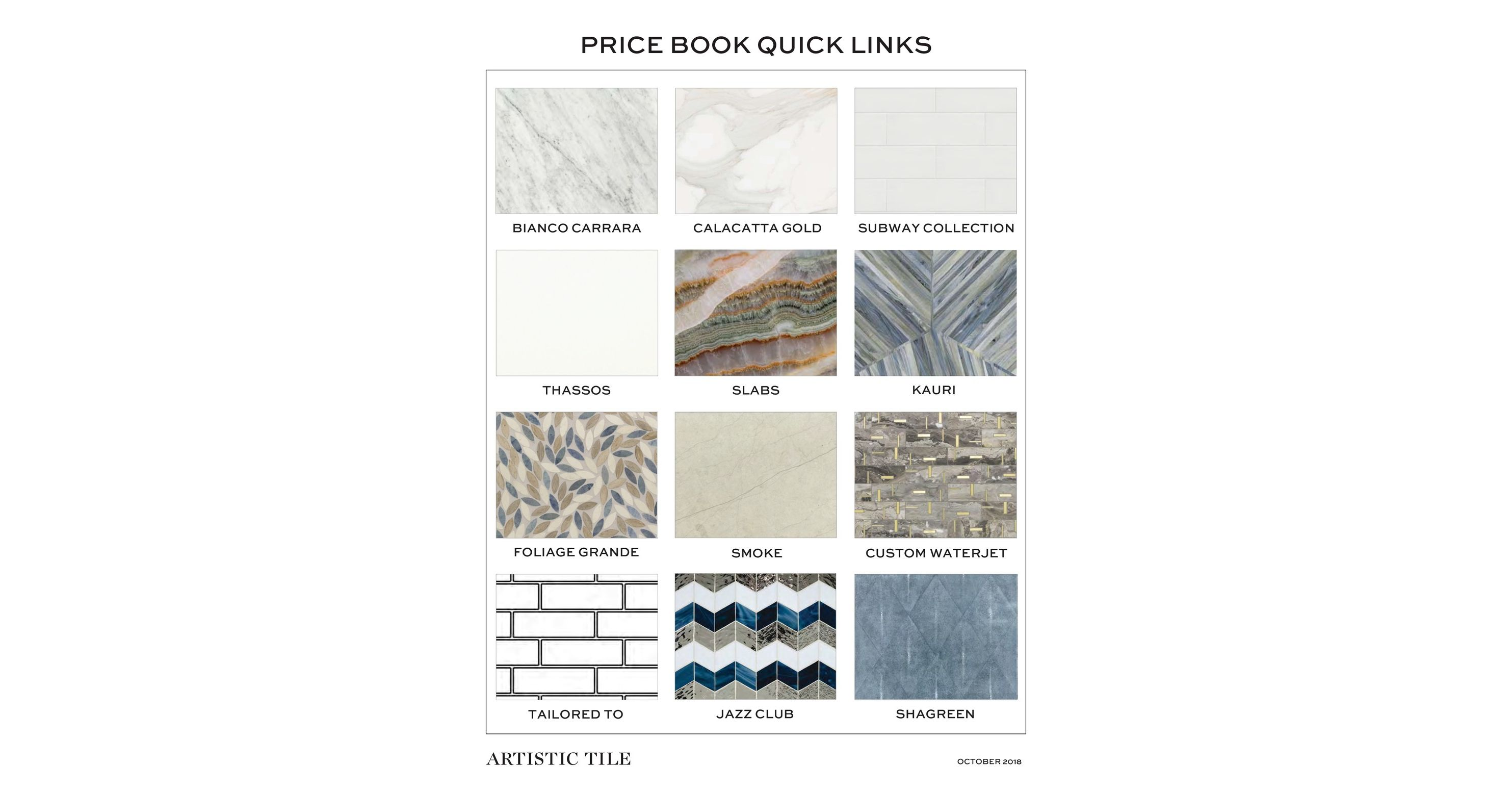 Price Book - Artistic tile price list