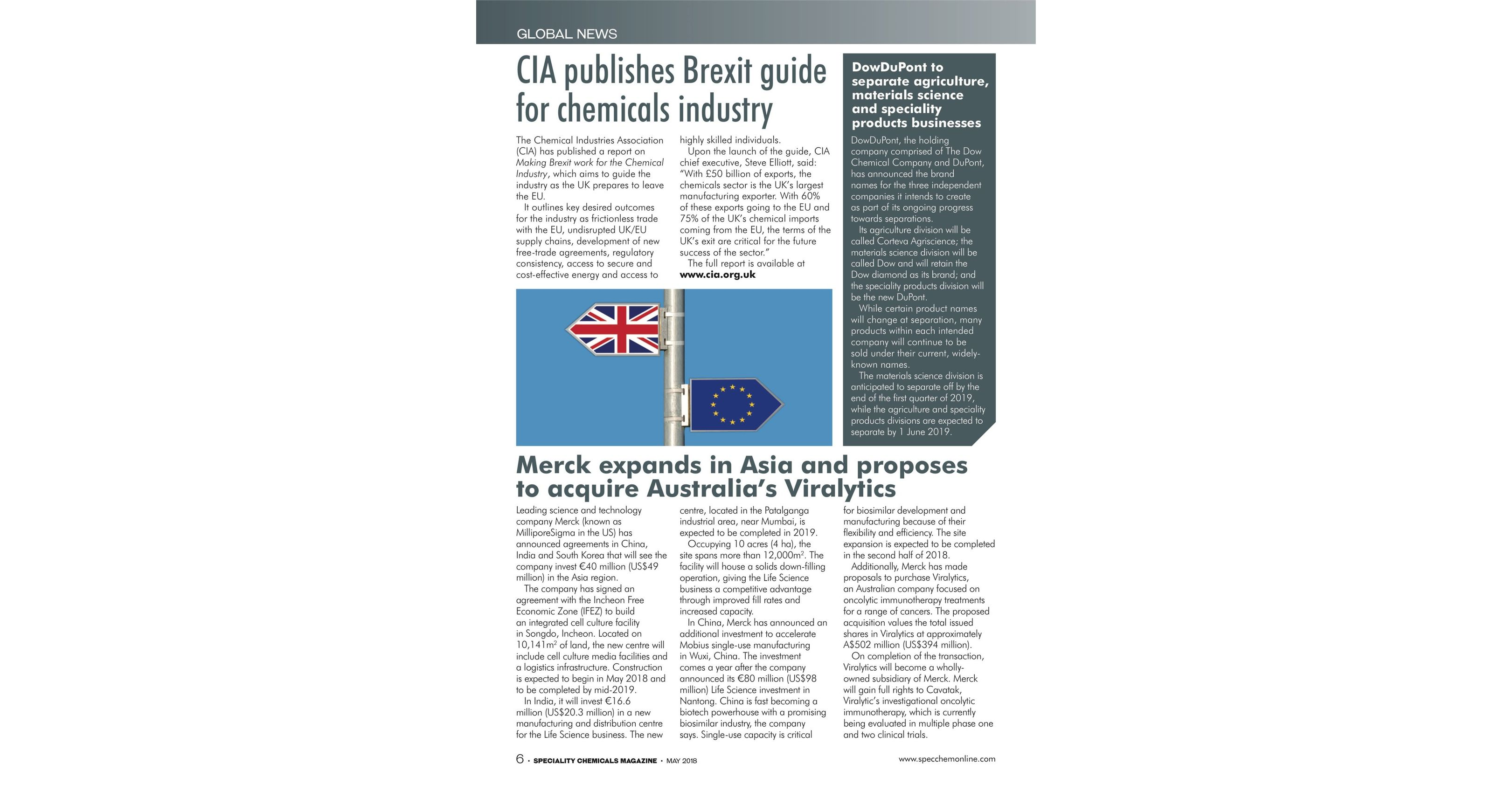 Speciality Chemicals Magazine May 2018